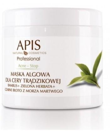 APIS Acne Stop maseczka algowa do twarzy dla cery trądzikowej z bambusa i zielonej herbaty o właściwościach antybakteryjnych