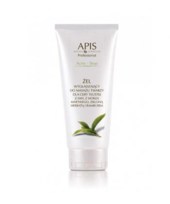 APIS Acne Stop żel wygładzający i nawilżający do masażu twarzy dla cery tłustej z minerałami z Morza Martwego i zieloną herbatą