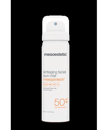 Lekka mgiełka do pielęgnacji twarzy z filtrem ochronnym SPF 50+ z firmy Mesoestetic