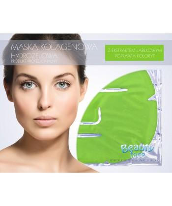 Maska w płacie hydrożelowym z ekstraktem jabłkowym do domowej pielęgnacji twarzy ma za zadanie wyrównać koloryt skóry