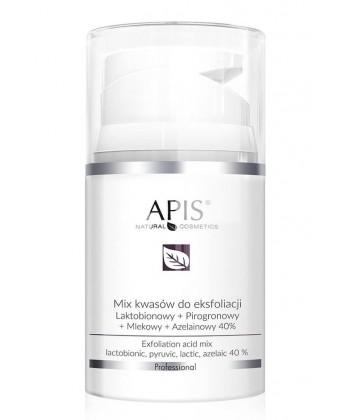 Apis Professional Mix kwasów do eksfoliacji: laktobionowy + pirogronowy + mlekowy + azelainowy 40% - 50ml