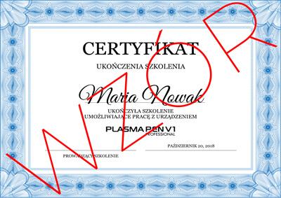 Certyfikat to dowód na ukończenie kursu z obsługi konkretnego aparatu kosmetologicznego do przeprowadzania zabiegów