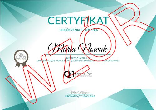 Wzór certyfikatu uczestnictwa w szkoleniu kosmetologicznym