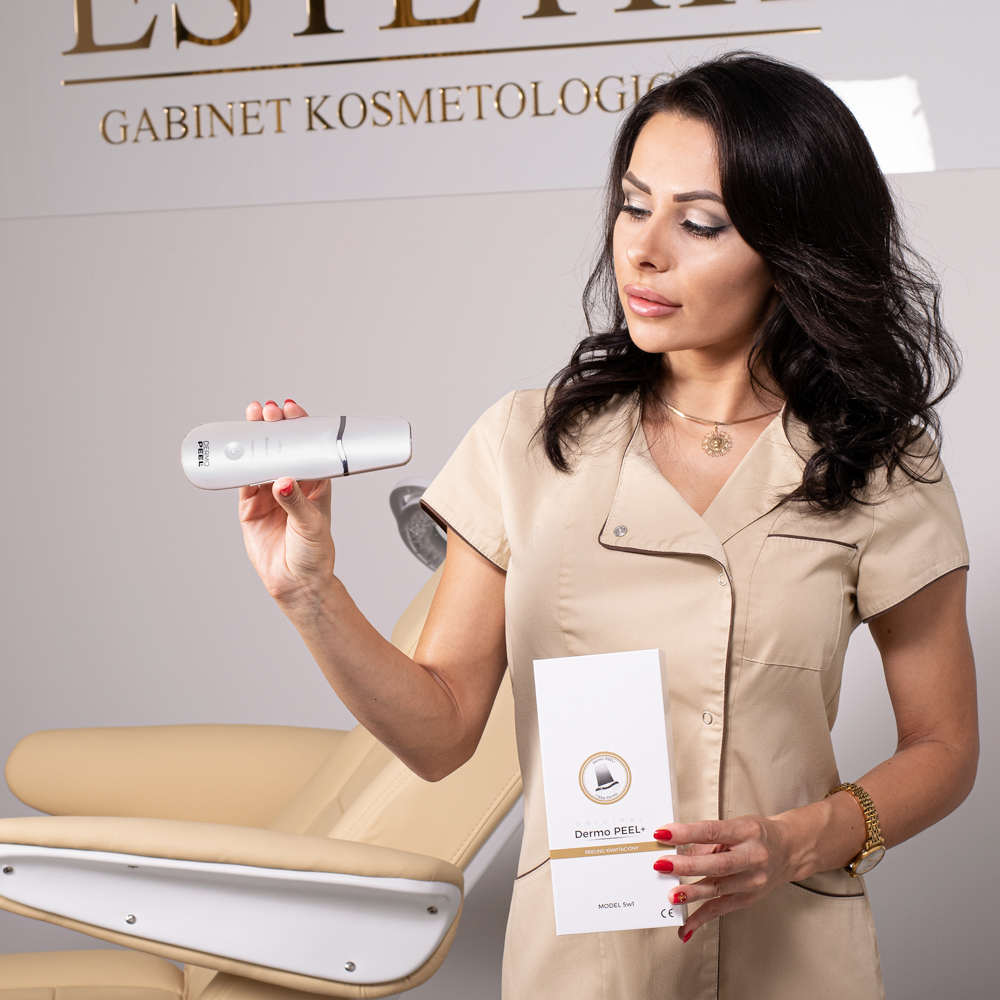 Dermo Peel+ to peeling kawitacyjny, sonoforeza, elektrostymulacja, fototerapia, masaż wibracyjny