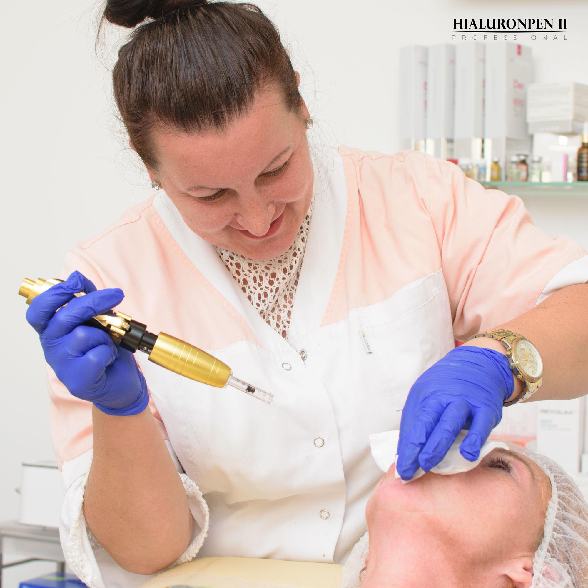 Dzięki urządzeniu Hialuronpen II Professional będziesz mógł przeprowadzić wolumetrie policzków i brody w gabinecie kosmetycznym